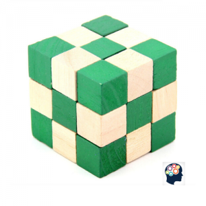 Casse-tete cube en bois en forme de serpent