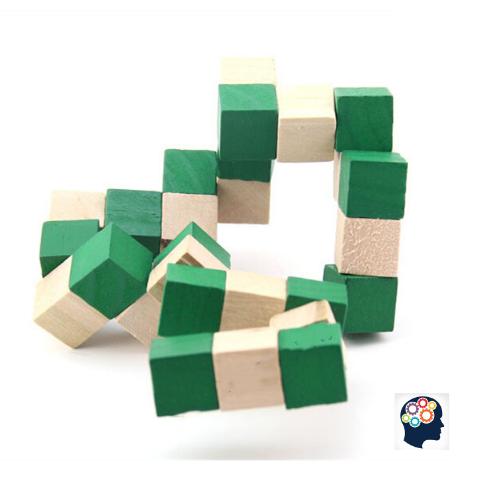 Casse-tete cube en bois en forme de serpent enfant