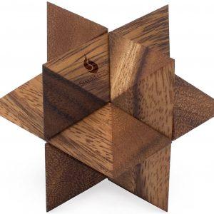 casse-tete en bois etoile 3d