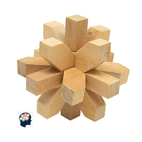 casse tete en bois fleur de lotus